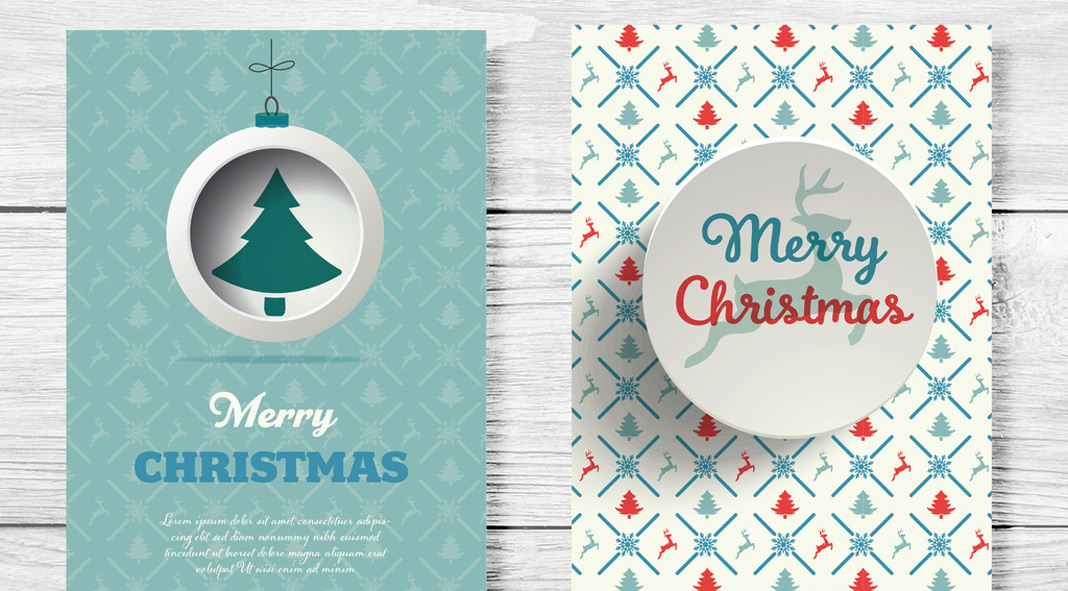 Set of Christmas greeting card layouts by Roverto Castillo.