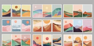Vector artworks of minimalist landscapes.