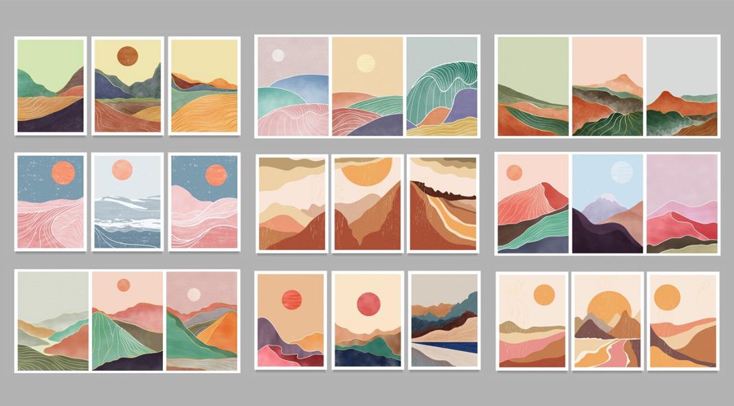 Vector artworks of minimalist landscapes.