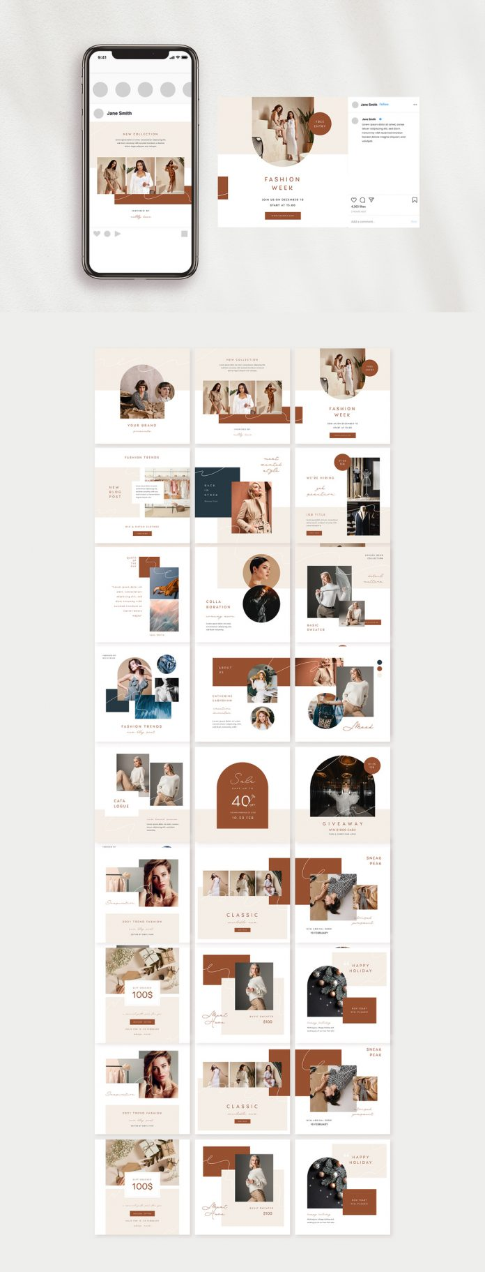 21 Fashion-Inspired Social Media Puzzle-Style Templates