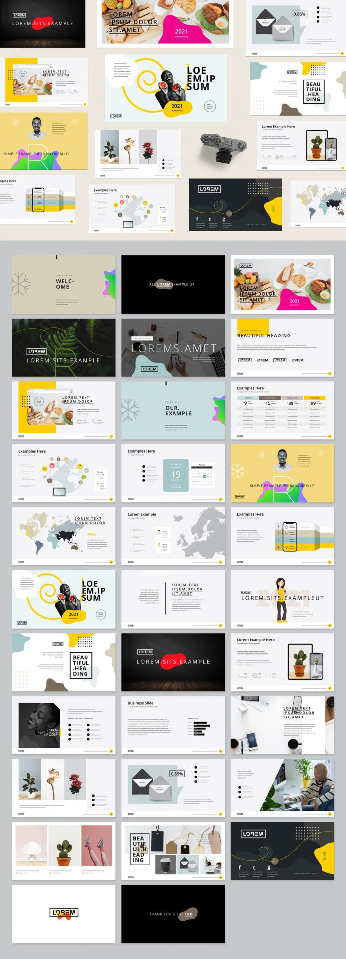Adobe InDesign Presentation Layout with Yellow Accents.