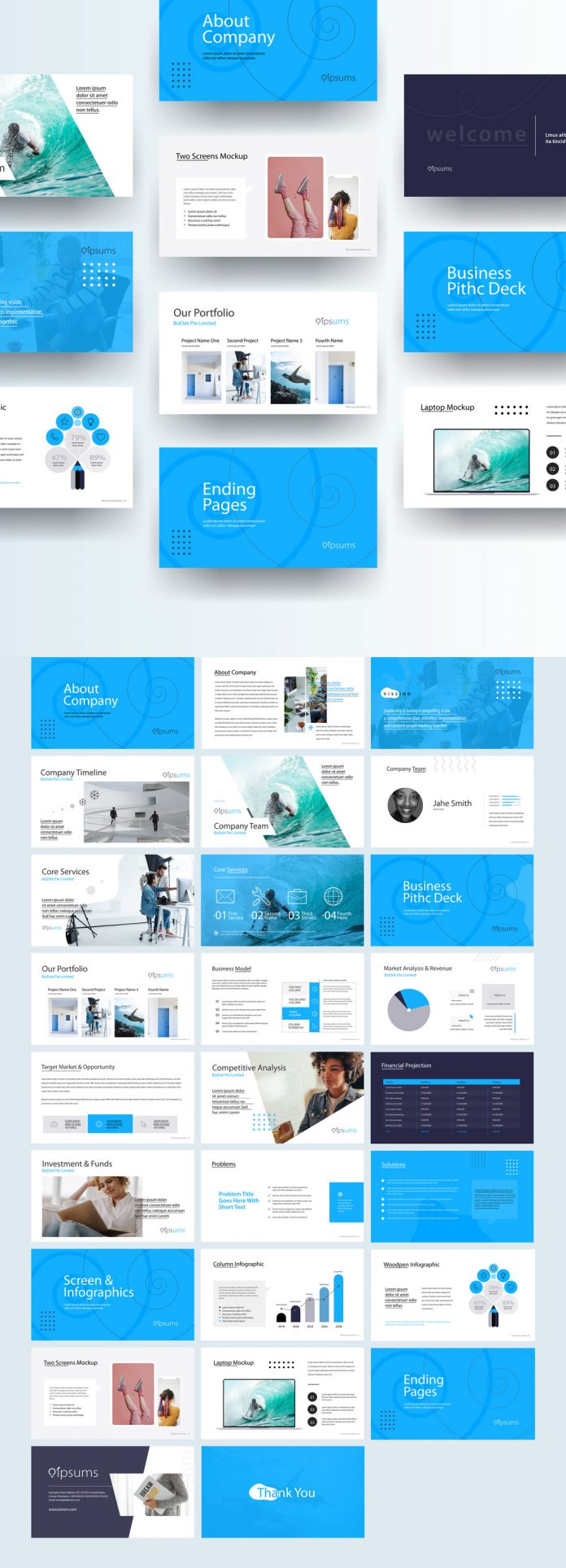 Business Pitch Deck Presentation Layout with Blue Accents