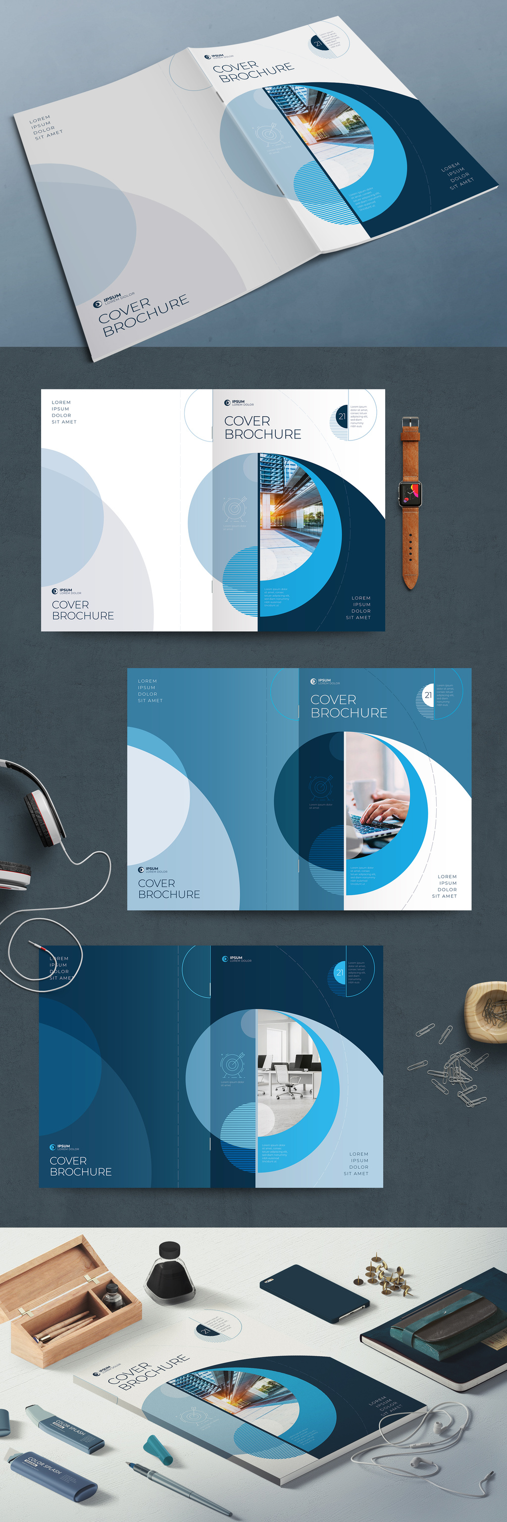 Business report cover layout with blue circle elements.