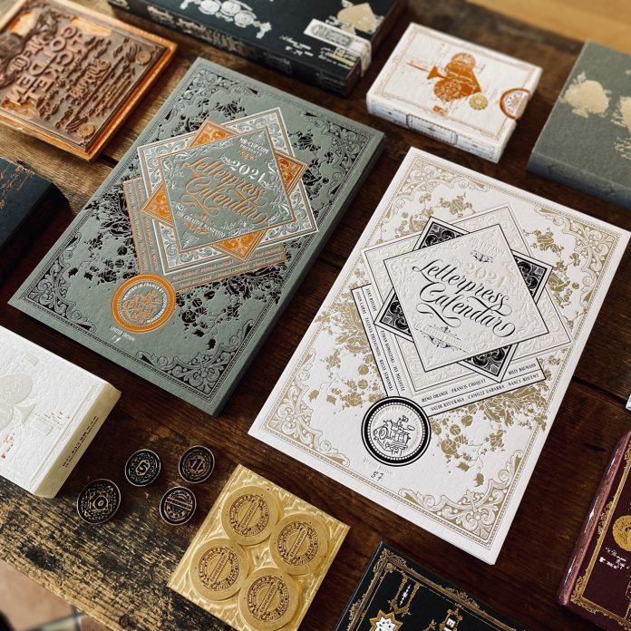 Letterpress calendar collaborative project between Salih Kucukaga, Luke Ritchie, and Barral Fabien of studio Mr Cup.