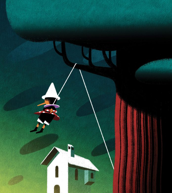 Pinocchio book illustrations by Andrea Rivola.
