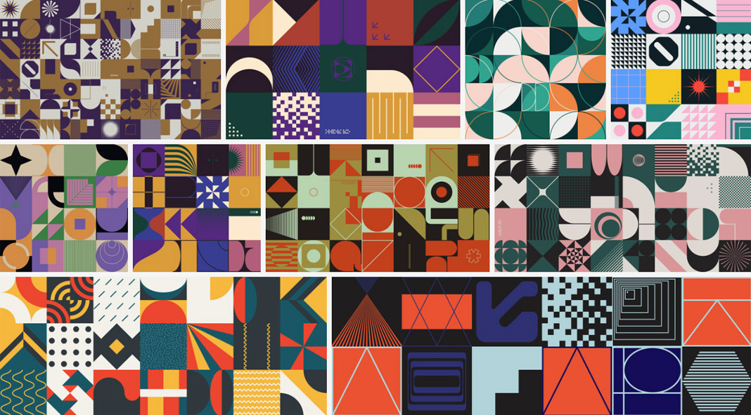 Geometric vector graphics for posters, website backgrounds, and other graphic design projects.
