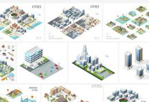Isometric vector graphics of buildings, diverse objects, and city maps.