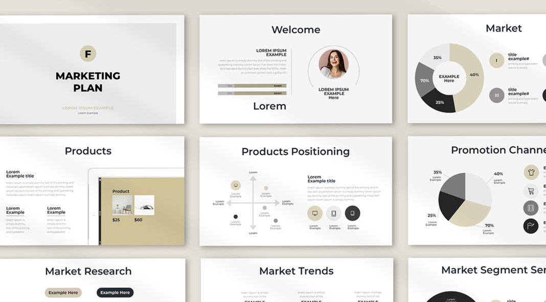 Marketing Plan Presentation Template with Infographics