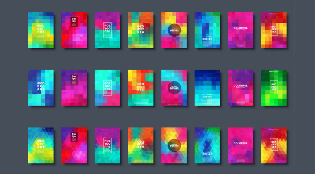 Polygonal abstract graphic backgrounds.