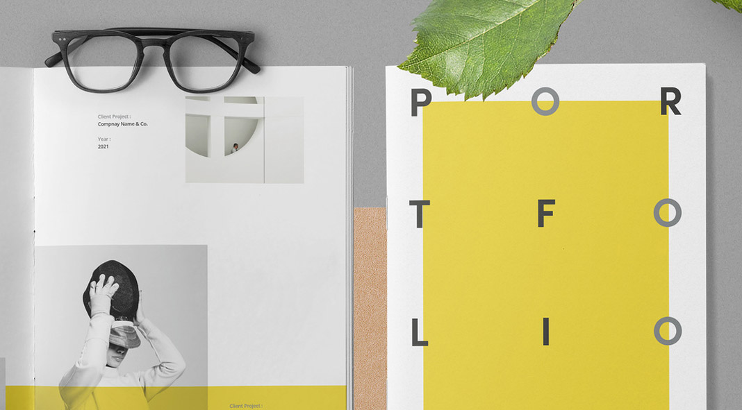 Portfolio template with yellow and gray accents.