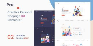 Prokit, a personal portfolio Elementor WordPress template kit.