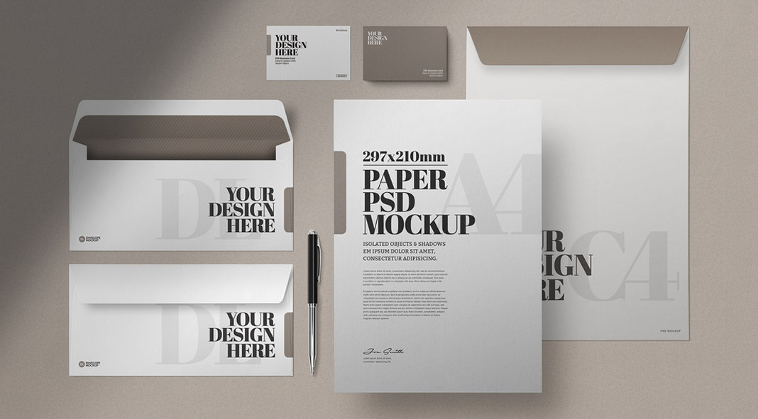Stationery Photoshop Mockup, Business Cards, Envelopes, and Letterheads.