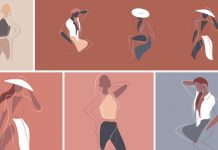 Vector graphics of feminine drawings.