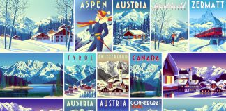 Vintage travel vector graphics of mountains, villages, and winter landscapes.