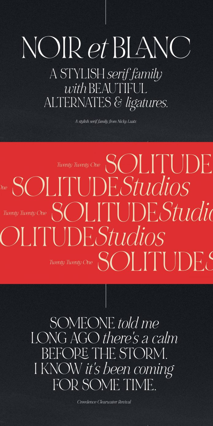 NOIR et BLANC serif font by Nicky Laatz.