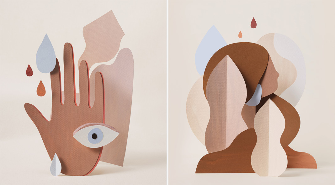 Abstract compositions with cut paper shapes by Adrian Gidi.