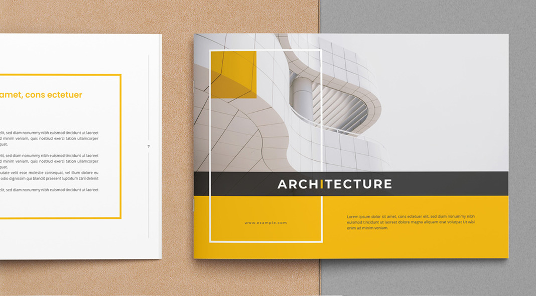 Architecture Brochure Layout with Yellow Accents.