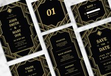 Art déco Wedding Stationery Template