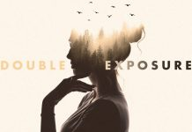 Duotone Double Exposure Photo Effect Mockup.