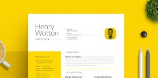 Minimal Resume and Cover Letter Layout with Yellow Accent