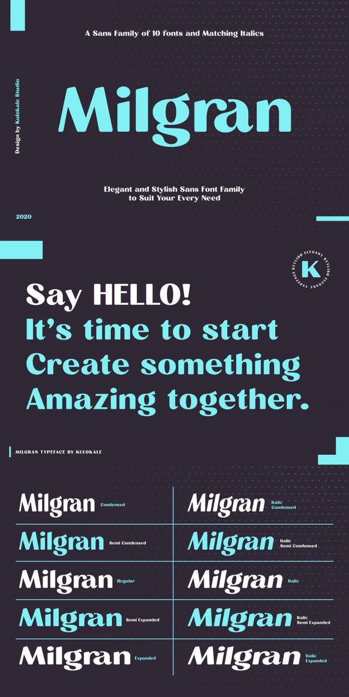 Milgran font family by Kulokale