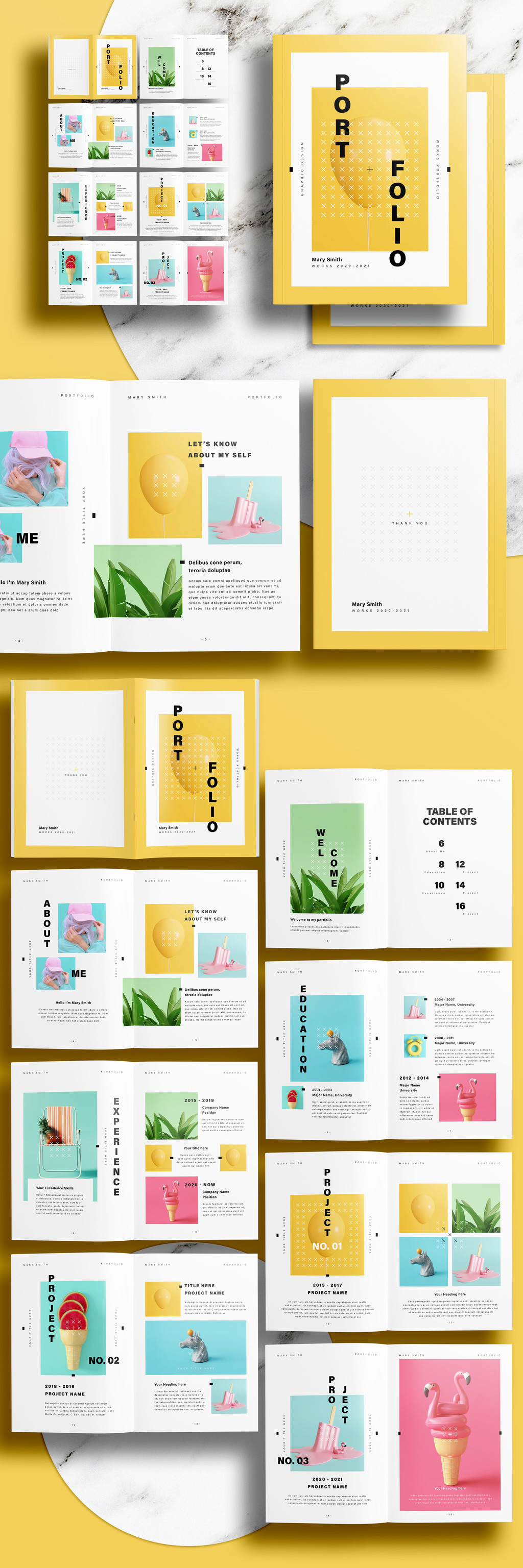 Portfolio InDesign Layout with Yellow Accents