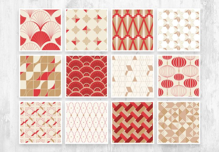 Seamless Red and Gold Art Deco Chinoiserie Pattern with Geometric Shapes