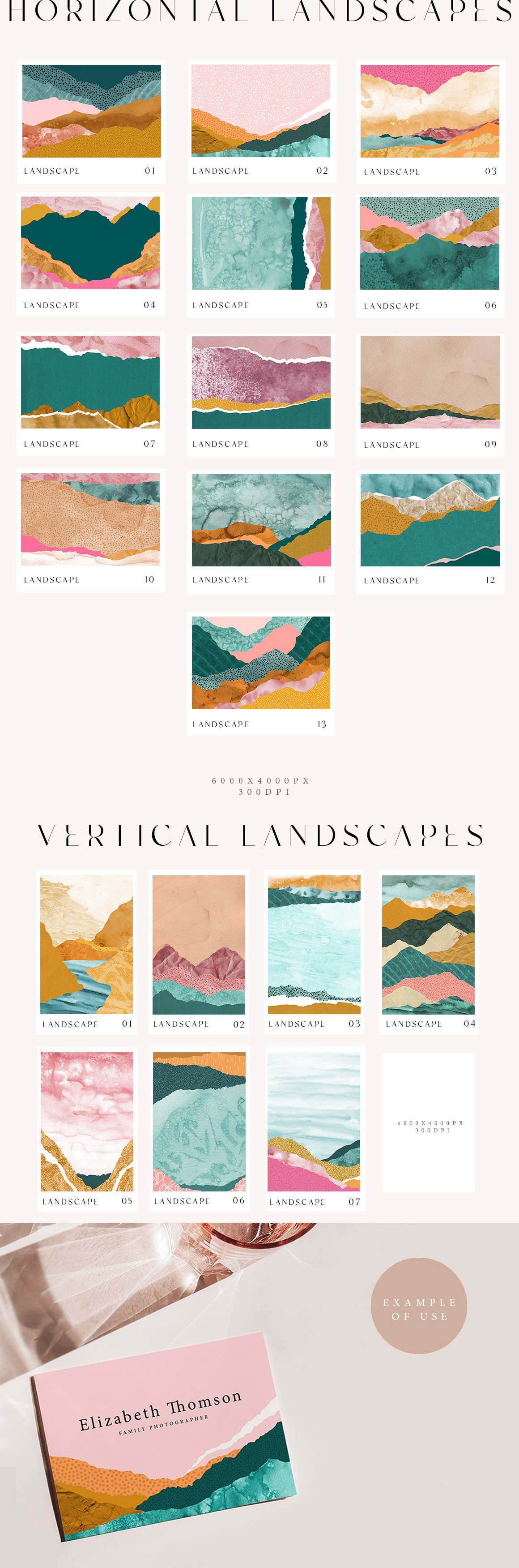 70 Abstract Landscape Watercolor Papers