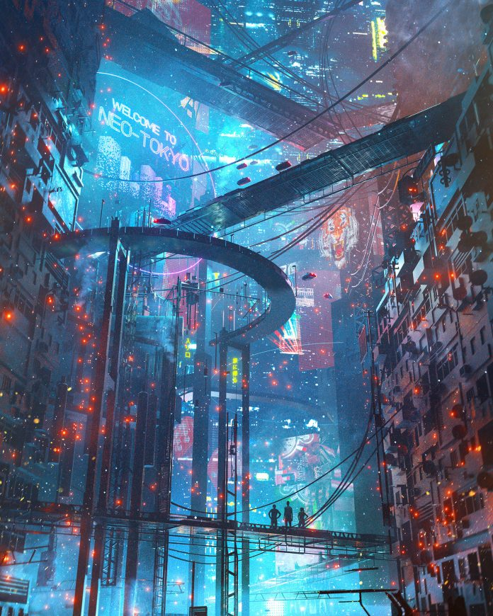 Cyberpunk sci-fi illustration by Dangiuz (aka Leopoldo D'Angelo).