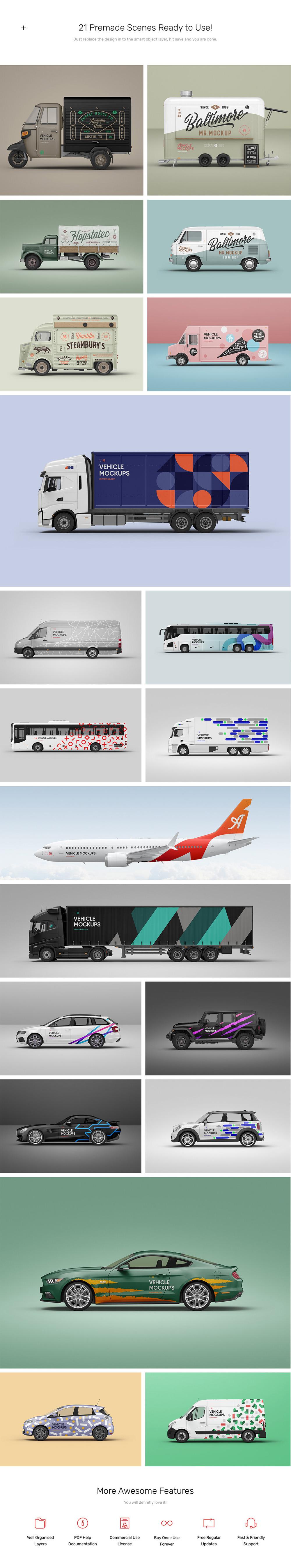 Vehicle Mockups for Adobe Photoshop