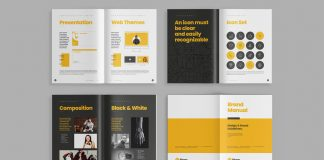 Brand Manual Template with Yellow Accents by Adobe Stock contributor bourjart.