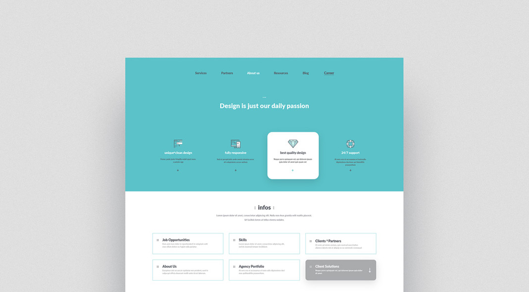 Company Portfolio Website Template with Graphic Icons