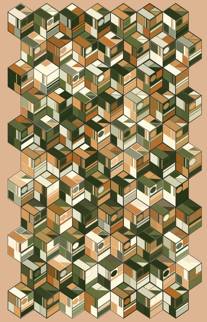 Code generated Bauhaus NFT art: BlocksOnBlocks №5