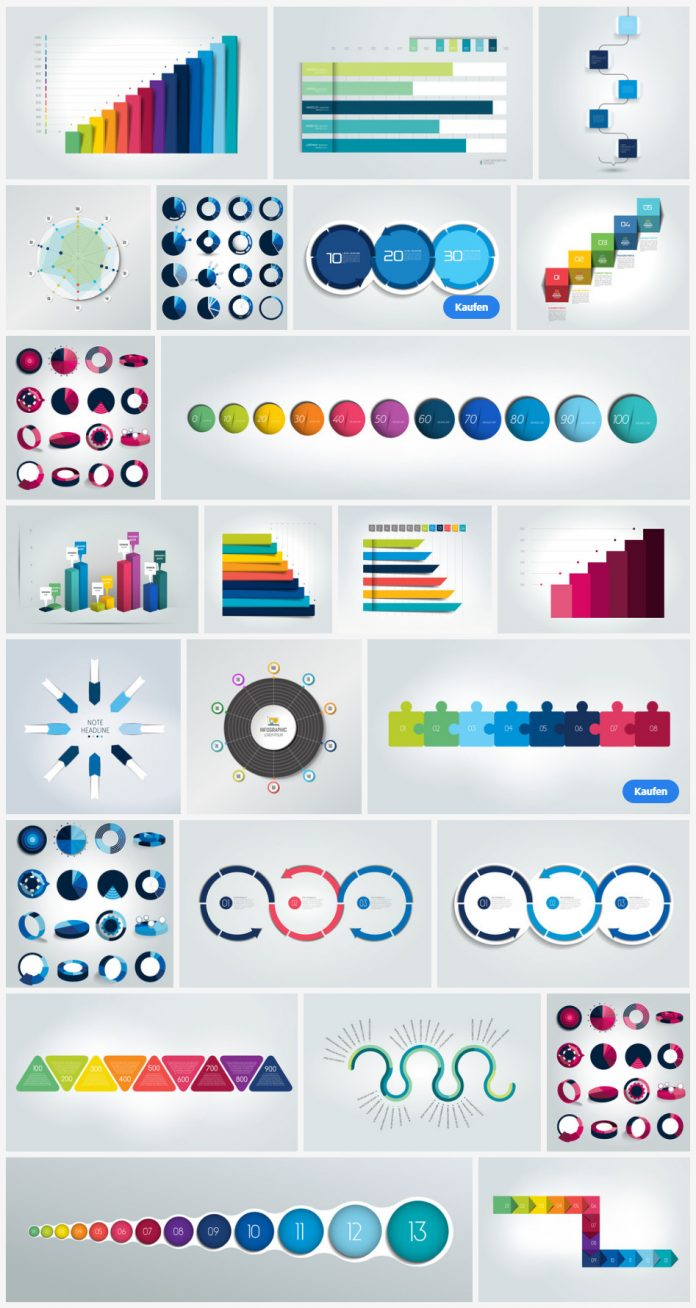 2D and 3D Infographics as fully editable vector graphics.