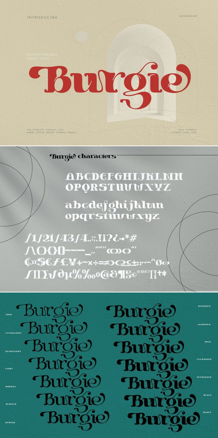 Burgie font family by alit design