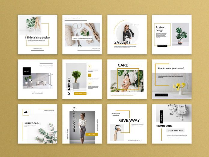 Minimalistic Social Media Templates with Black Accent.