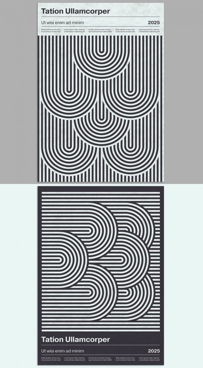 Monochrome Geometric Poster Template in Mid-Century Modern Style