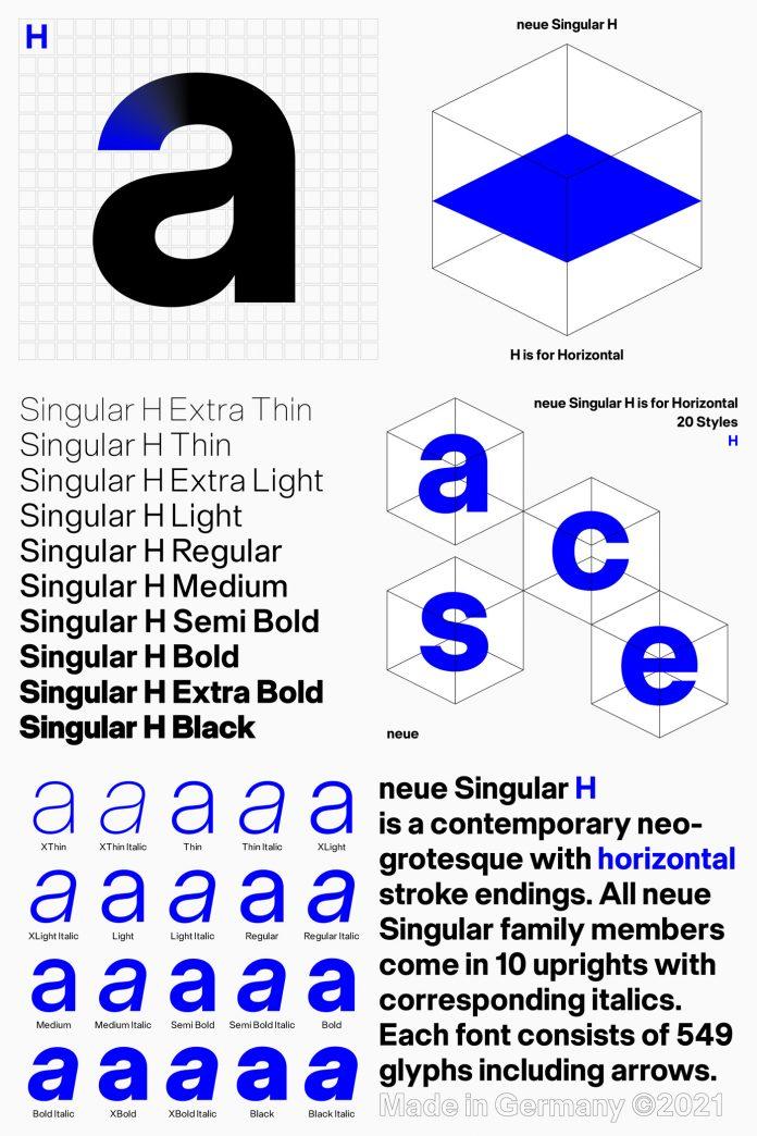 Neue Singular H font set
