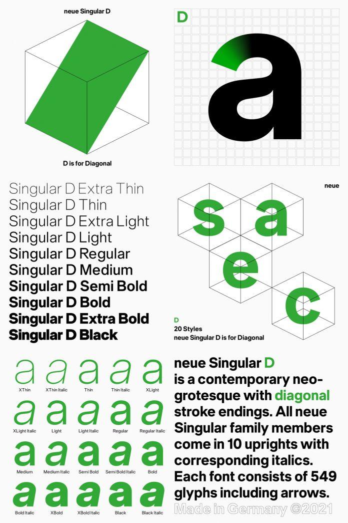 Neue Singular F font set
