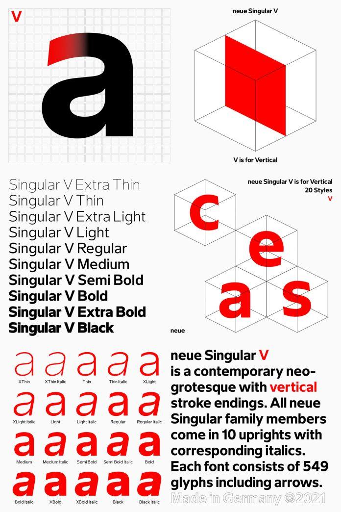 Neue Singular V font set