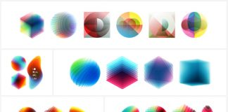 Abstract geometric vector graphics made of various overlapping design elements.