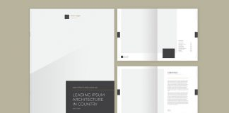 Adobe InDesign Catalog Template with Gray and Gold Accents.