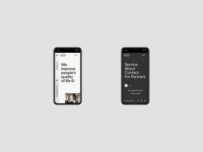 Mobile version of an architecture and interior studio website designed by Alexander Baril.