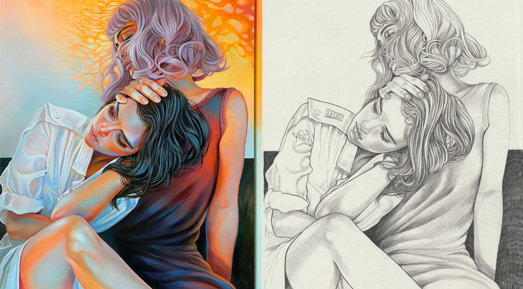 Paintings and drawings from the series The Dark House Of Gloria by Martine Johanna
