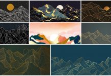 Semi-abstract landscape wallpaper artworks available as fully editable vector illustrations.