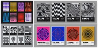 Swiss graphic design-inspired abstract geometric graphics for posters.