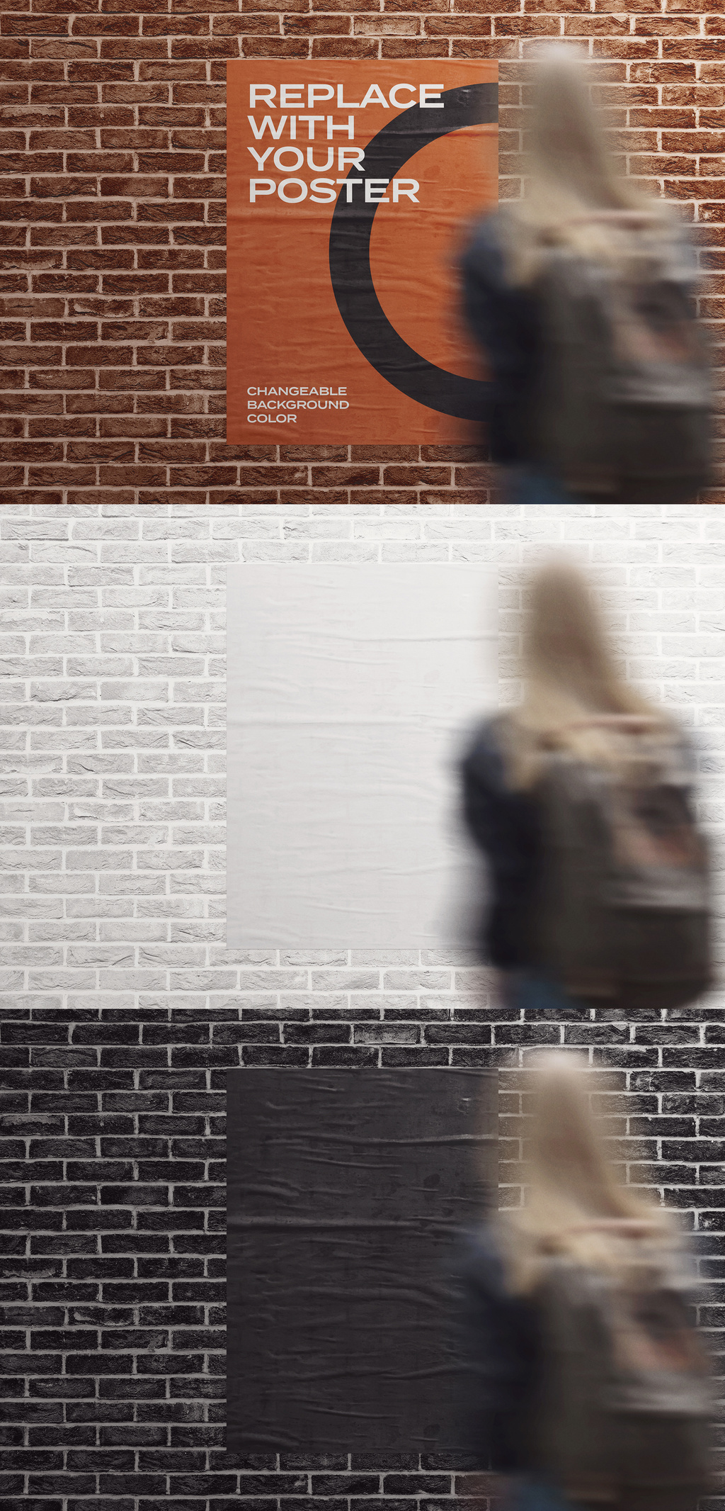A Glued Poster Photoshop Mockup on a Brick Wall