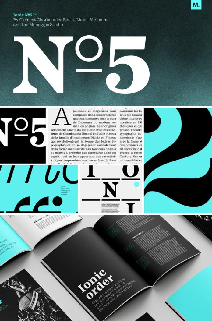 Ionic No 5 font family by Monotype.