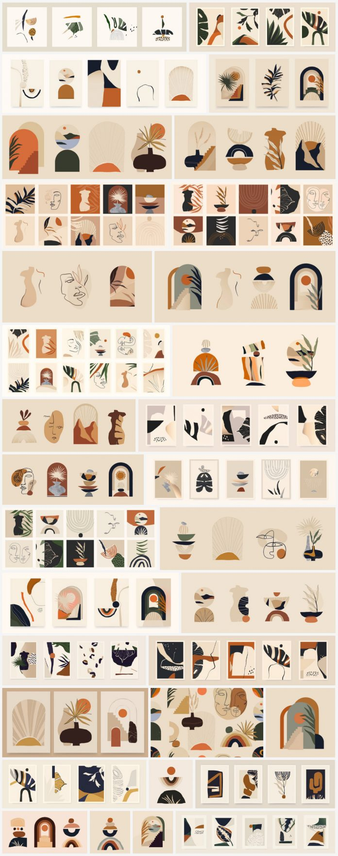 Minimalist Boho style vector illustrations.