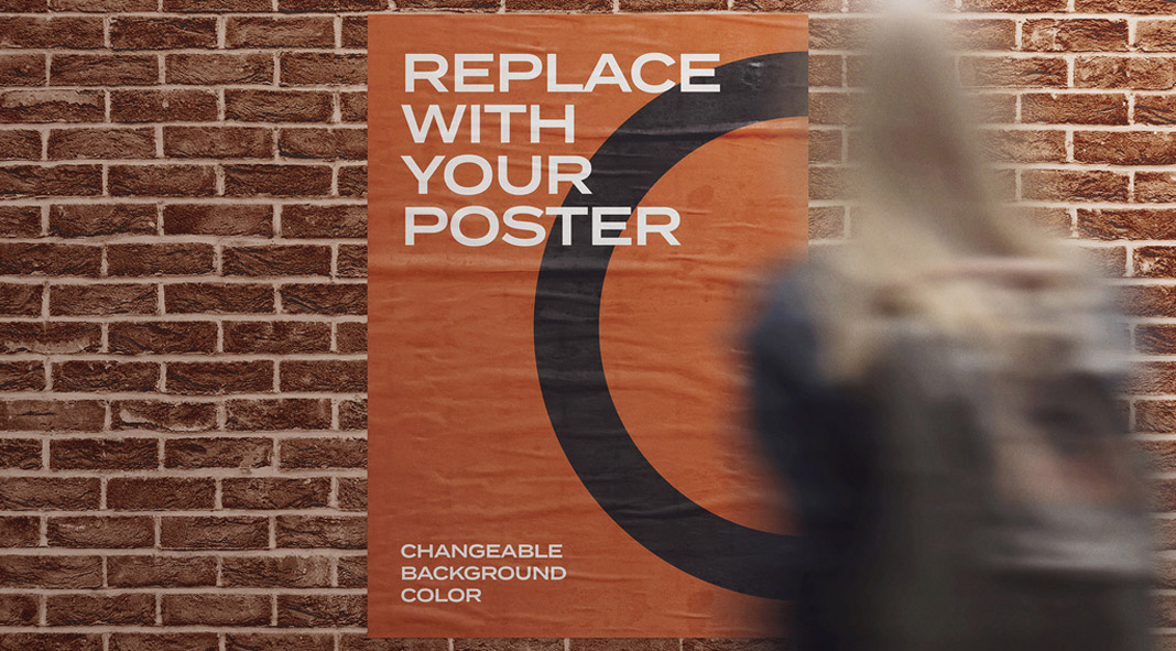 Glued poster mockup on a brick wall with a woman in the front.